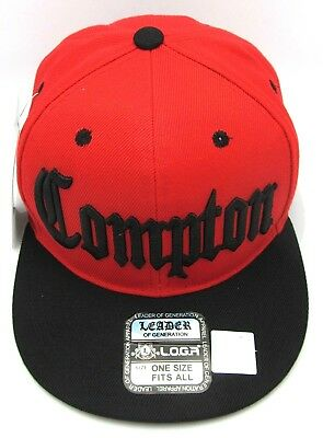 6b881a0e535 COMPTON Snapback Hat South Central Los Angeles Cali Cap Red Black OSFM New