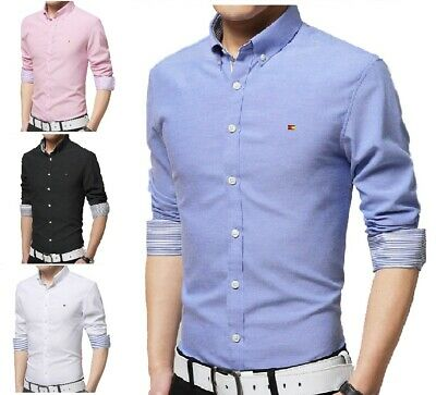 Mens Casual Button Down Shirts Slim Fit Shirt Top Long Sleeve M L XL XXL PS13