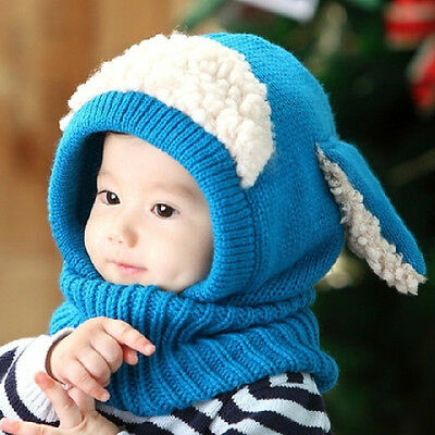 Hot Baby Toddler Winter Beanie Warm Hat Hooded Scarf Earflap Crochet Knitted Cap