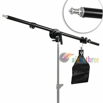 Phototography Studio Light Stand Softbox Umbrella Telescopic Boom Arm w/ Sandbag