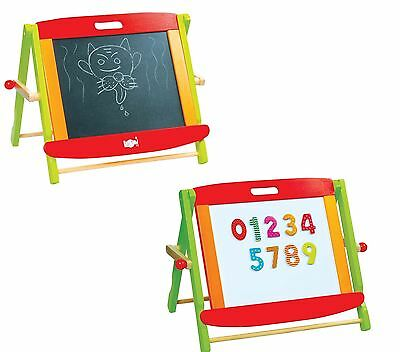 Lelin Wooden Childrens Kids 2 in 1 Black & White Chalk Drawing Easel Board