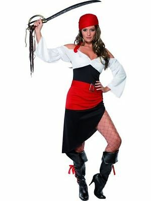 Fancy Dress Ladies Sassy Pirate Wench Costume Buccaneer - Sizes 8-18 (33356)