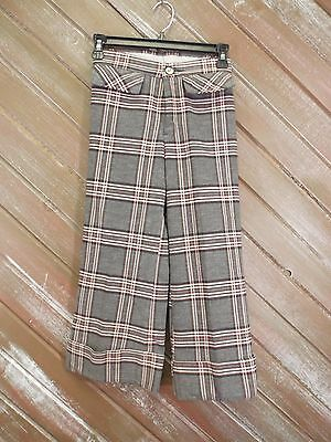 HIS Pants Plaid Black Red Gray Vintage Flare Leg Girl's Sz See Measurements