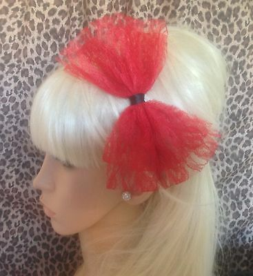 NEW BIG RED LACE BOW SATIN ALICE HAIR HEAD BAND 80s RETRO HEN PARTY FANCY DRESS