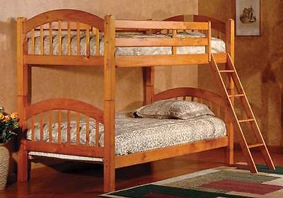 Youth Kids Convertible Twin over Twin Wooden Bunk Bed Ladder Wood Honey Oak