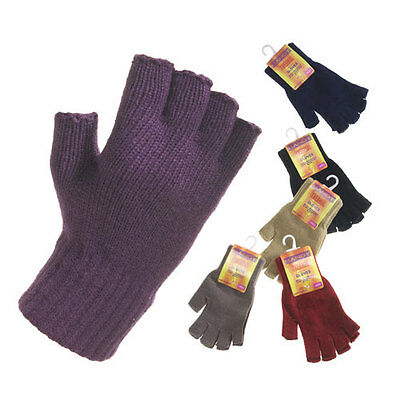 Ladies Handy Thermal Gloves winter Fingerless warm knit Glove Various colours