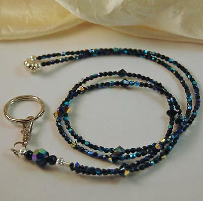 Black Lightweight BREAKAWAY BADGE HOLDER LANYARD made with SWAROVSKI CRYSTALS