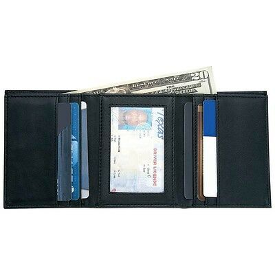 Mens BLACK Solid Genuine Trifold LEATHER WALLET Bill Credit Card ID Photo Holder