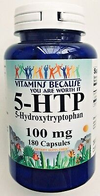 5-HTP 100mg Large Bottle 180 Capsules Weight Control 5htp Mood Serotonin FRESH