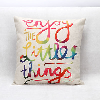18'' Cotton Colorful Words Throw Waist Cushion Cover Pillow Case Home Car Decor