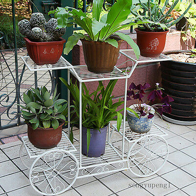 6 TIER White 4 Wheeler Metal Flower Pot Plant Stand Garden Indoor Decor Beauty