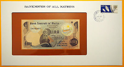 Malta - 1 Lira 1979 Uncirculated Banknote in see through stamped envelope.