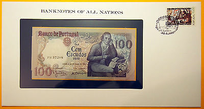 Portugal 100 Escudos 1980 Uncirculated Banknote in see through stamped envelope.