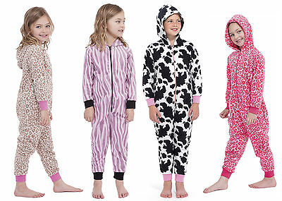Girls Childrens Animal Print Onesie All In One Age 4 5 6 7 8 9 10 11 12 Years