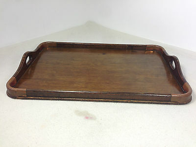 Antique Oak butlers serving tea dinner Tray Copper corners woodenware
