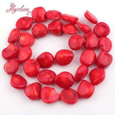 """8-10x9-12mm Freeform Red Coral Gemstone For Jewelry Making Beads Strand 15"""""""