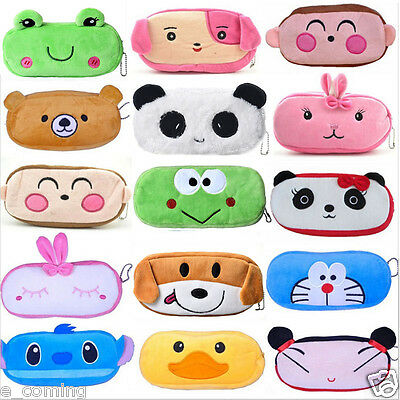 NEW Cute Cartoon Kawaii Pencil Case Plush Large PEN BAG Kids School Supplies