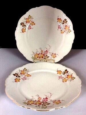 """6 Antique Bavaria/Mittereich/Autumn Leaves/10 1/2"""" Dinner Plates Germany    #88A"""