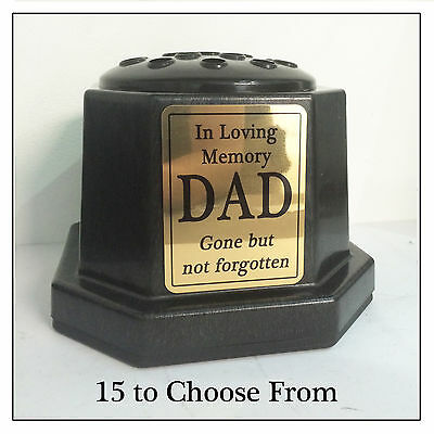 Black Memorial Vase - Personalised Flower Pot & Gold Plaque Family Grave Stone