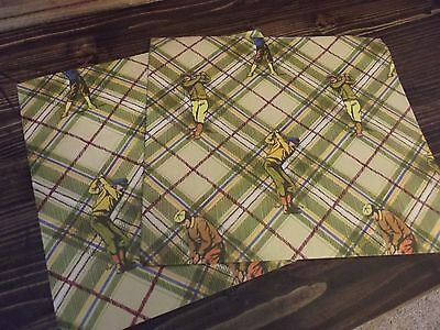 """2 Vintage 20"""" x 30"""" Sheets of Wrapping Paper - Vintage Golf Theme"""