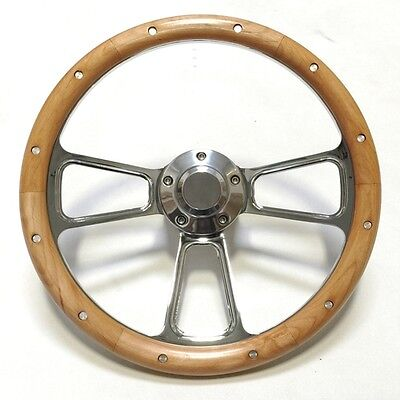 """Gorgeous Chrome and Alderwood Steering Wheel 14"""" Real Wood Wheel SHIPS FREE!"""