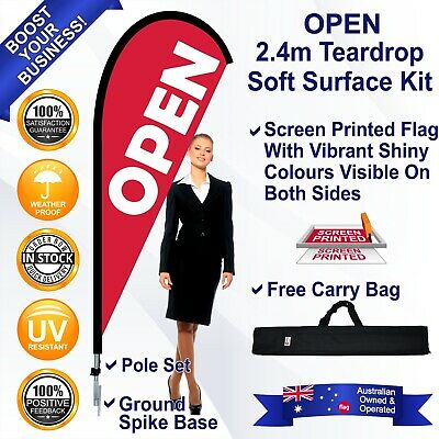 OPEN Red 2.4m Teardrop Bowhead Flag/Banner Kit with Spike *Not Feather *Outdoor