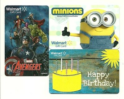 Lot (3) Walmart Gift Cards Minions Avengers Birthday No $ Value Collectible
