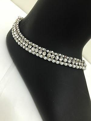 Payal Anklet Indian Ankle Bracelet Faux Jewelry Pearl Silver Diamante Foot Chain
