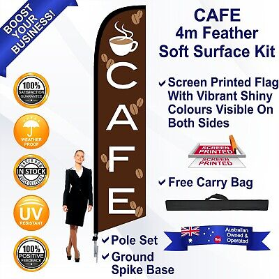 CAFE Brown 4m Feather Flag Kit with Ground Spike Outdoor Swooper Banner Sign