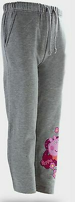 Girls Peppa Pig Jogging Bottoms. Grey Tracksuit Trousers.