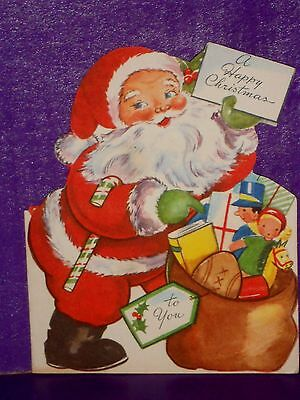 Vintage 1940's Tri-Fold Stand Up Christmas Card Santa & His Sac Full of Toys