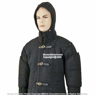 Black Gambeson Type I Medieval Padded Armour Coat SCA WMA Arming Jacket SCA WMA