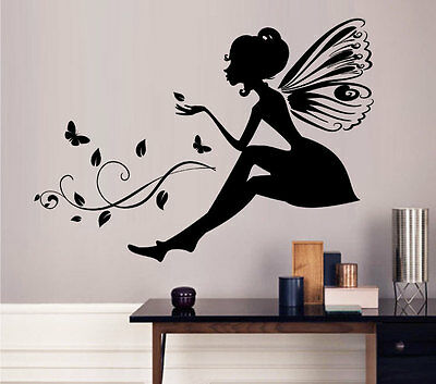 Butterfly Fairy Wall Stickers Living Room Vinyl Art Mural Decals DIY Home Decor