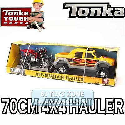 Large Tonka Truck Toy 70CM 4x4 Off Road Hauler Truck With Dirt Bikes