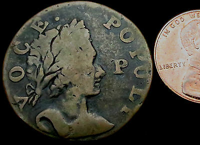 P233: A+ 1760 VOCE POPULI Copper Halfpenny : Nelson 12.  Circulated in America