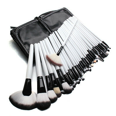 32pcs White Makeup Brush Set Cosmetic Brushes Make up Kit + Pouch Bag Case Tool