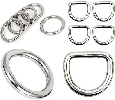 2 x D rings or O rings - WELDED Buckles - for Webbing Leather Crafts DIY