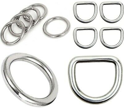 2 x STAINLESS STEEL D-Rings or O-Rings ~ WELDED Buckles for Webbing Leather, DIY