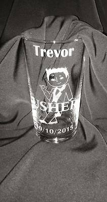 Engraved Pint Glass - Usher/ Best Man  / Wedding