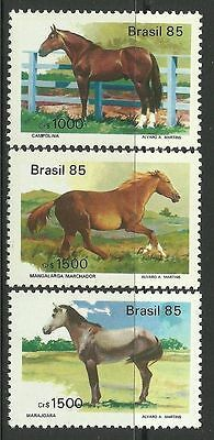 BRAZIL. 1985. Brazilian Horses Set. SG: 2132/34. Mint Never Hinged