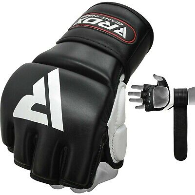 RDX Leather Gel Tech MMA 7oz Grappling Gloves UFC Punch Bag Fight Boxing AU