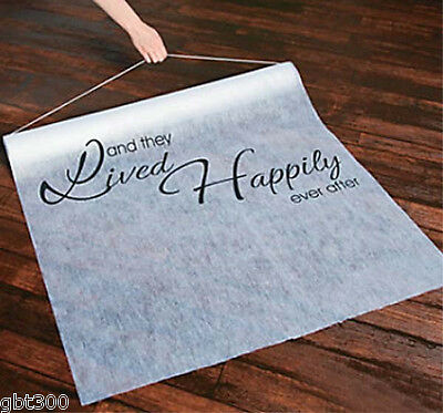 100 ft. They Lived HAPPILY EVER AFTER Fairy Tale Wedding Aisle Runner Long White