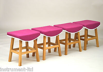 4 x (Four) ROOM14 Oak White & Purple Upholstery Modern Quirky Chairs Stools