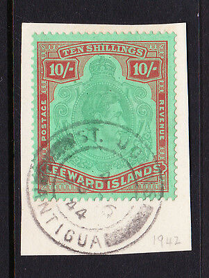 LEEWARD IS.1938-51 10/- PALE GREEN & DULL RED SG 113a WITH CERT FINE USED.
