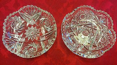 Set of 2 Fine Clear Crystal Cut Glass Candy Bowls/Dishes Starburst Pattern 6""