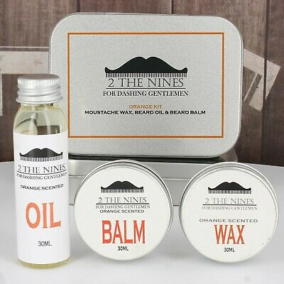 2 The Nines™ Moustache Wax, Beard Oil & Balm - Grooming Kit (Tangy Orange)