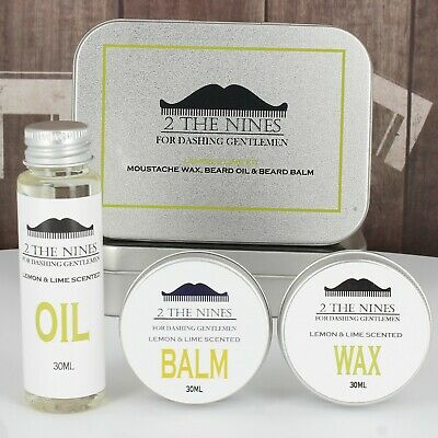 2 The Nines™ Moustache Wax, Beard Oil & Balm - Grooming Kit (Lemon & Lime)