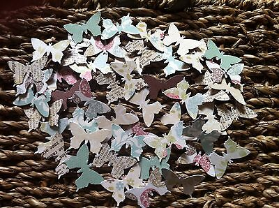 100 X Butterfly embellishments for card making scrapbooking crafts mixed colours