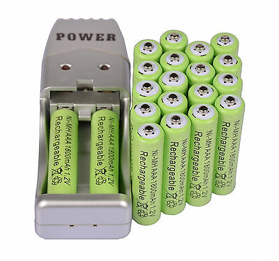 20X AAA 3A 1800mah1.2V NiMH rechargeable battery Green+USB Charger
