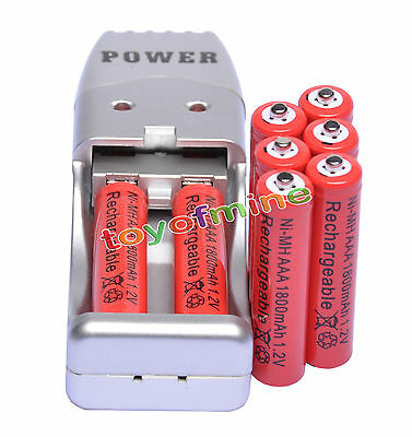 8X AAA 3A 1800mah1.2V NiMH rechargeable battery Red+USB Charger